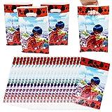 80 Pezzi Sacchetti Regalo in Plastica per Feste di Compleanno Sacchettini di Festa a Modello di Ladybug in Plastica Borse Sacchetti di Caramelle Adorabili per Feste con Manici per Festa Compleanni