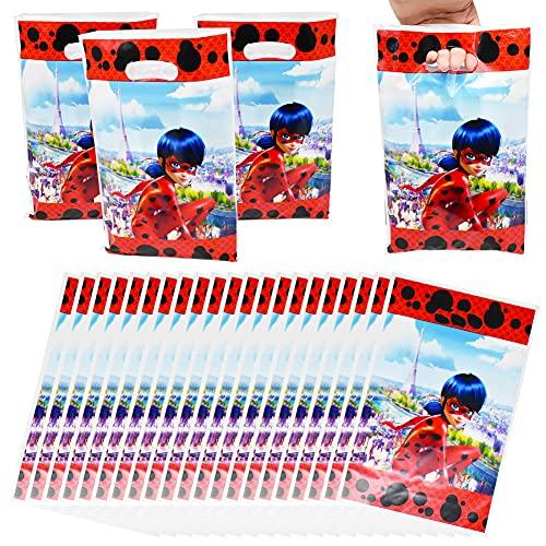 80 Piezas Ladybug Bolsas de plástico para Fiesta Ladybug Bolsas de Plástico para Fiestas Bolsas Plástico para Regalos con Asas Ladybug Patrón para Fiesta de cumpleaños Celebraciones de día Festivo