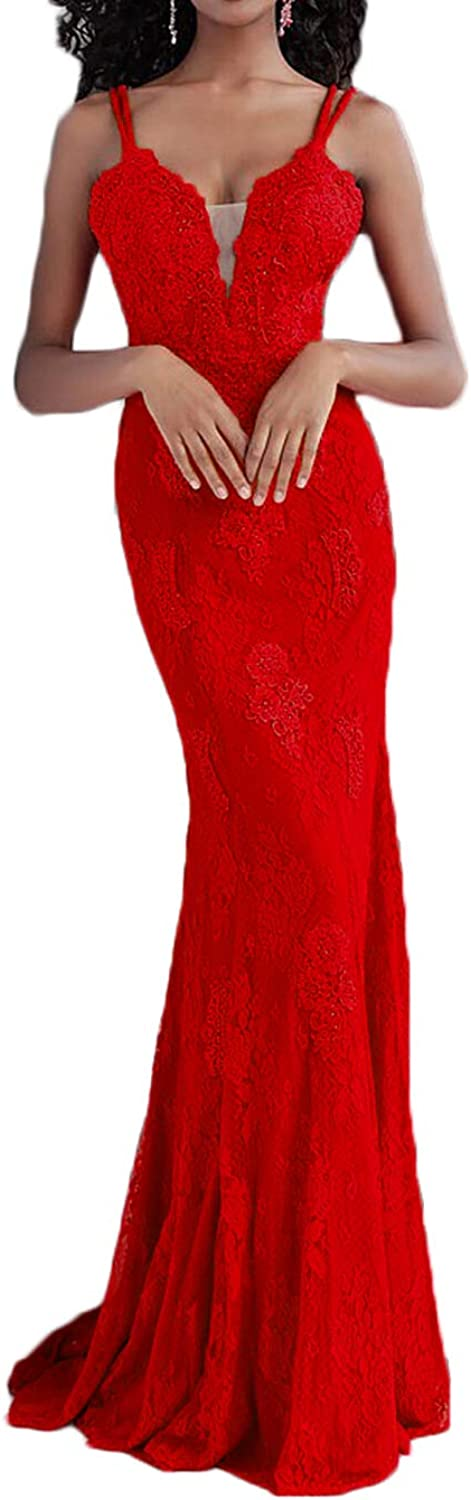 Alilith.Z Sexy Spaghetti Strap Lace Prom Dresses 2019 Mermaid Appliques Party Gowns Formal Evening Dresses for Women