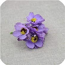 April With You Silk Flower 6pcs/lot Artificial Flower Wedding Car Home Decoration Bride Bouquet Handmade Simulation Artificial Cherry Blossom,Purple