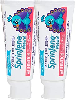 SprinJene Natural Kids 2-Pack Watermelon Fluoride Toothpaste- Vegan, Gluten Free, SLS Free, Cruelty Free