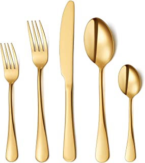 Flatware Set, 20-piece Silverware Cutlery Set with Serving Pieces, Heavy-duty Stainless..