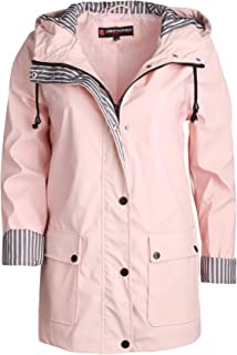 Women's Lightweight Vinyl Hooded Raincoat Jacket, Baby Pink, Large'