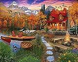 Kpdar Pintura por Números Kits Hoguera afuera de la casa Diy Pintura al óleo para Adultos, Niños, Creative Pintura sobre Lienzo Decoración para el Hogar Dibujo con Pinceles -60x75cm (Sin Marco)