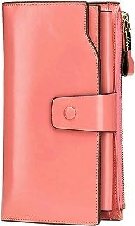 Itslife Women's RFID Blocking Large Capacity Luxury Wax Genuine Leather Cluth Wallet Ladies Card Holder (Pink RB)