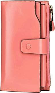 Itslife Women's RFID Blocking Large Capacity Luxury Wax Genuine Leather Cluth Wallet Ladies Card Holder (Pink RB)