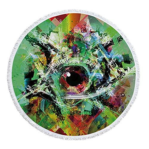 Diámetro Acerca de 150 cm Patrón de Ojos Abstractos Impresión Digital Toallas de Playa de Fibra Ultrafina-C8 Seque Rápidamente, Prevención de Arena para Viaje, Picnic