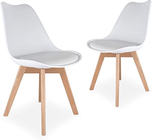 popular netuera Dining Chairs Mid Century Modern discount DSW Tulip Chair PU Wooden for Living Room Bedroom Kitchen wholesale Set of 2 White outlet sale