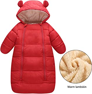 Children's Lamb Cashmere Sleeping Bag Thickening Plus Velvet Anti-Kick Newborn Quilt Warm Breathable Indoor Bedding,Red,100cm