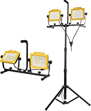 Aoodor 20000 Lumen Twin Head LED Work Light with Metal Telescopic Tripod Stand 10 Ft. Power Cord – IP 65 Water Resistant