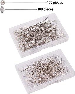 Alfileres con Cabeza,100 Pack Pines de Cabeza Perlas Redondas+100 Pack Alfileres de Cristal Diamante Transparentes Alfileres Costura Alfileres de Floral para Joyería Artesanal Boda Decoración