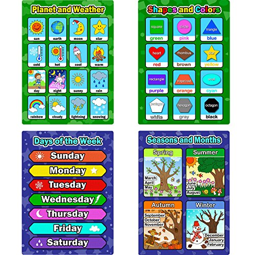 Bememo 4 Pieces Educational Learning Posters, Days of The Week, Shapes and Colors, Seasons and Months, Planet and Weather Charts for Toddlers and Kids