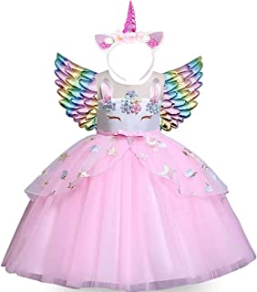 Moonman Girls Unicorn Costume Dress, Pageant Flower Princess Party Tutu Dresses Kit with Headband and Wings (Pink, 120)