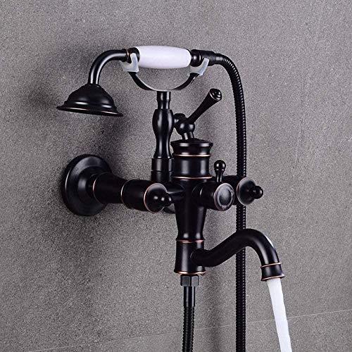 Juego de ducha de grifo de ducha simple para montaje en pared, grifo de agua caliente y fría americana pequeño grifo de ducha Set de suministro de agua (color: negro) (color: negro)