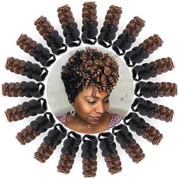 Miman 5 Packs 10 Inch Short Saniya Curl Crochet Hair for Black Women Bouncy Crochet Braids Synthetic Braiding Hair 12mm Black to Brown(#1B/30)