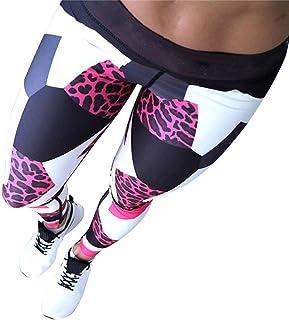 SHOBDW Mujeres Deportes Yoga Estampado de Leopardo Colorido Entrenamiento Gimnasio Fitness Push Up Leggings Mallas de Correr Medias de Cintura Alta Mono Pantalones Deportivos