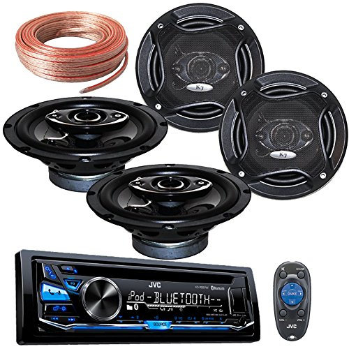 "Package Bundle - JVC KD-RD87BT USB/AUX/CD Pandora USB Bluetooth Receiver With 2 Pairs of K65.4 6.5-Inchs 6-1/2"" 400W 4-Way / 4 Speakers + 100Ft Cable"