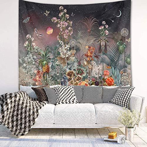 Misterioso jardín tapiz psicodélico cielo estrellado fondo flores mariposas luna bohemia tapiz colgante de pared para dormitorio junto a la cama sala de estar fiesta dormitorio arte decoración, es