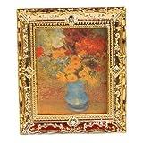 SM SunniMix 1/12 Skala Goldene Gerahmte Gemälde Bild Von Puppenhaus Art Decor 3 X2.56 ''