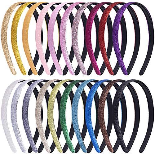 Duufin 20 Stück Glitzer Haarreifen mit Zähnen Glitzer Haarreif für Mädchen Damen, 20 Farben