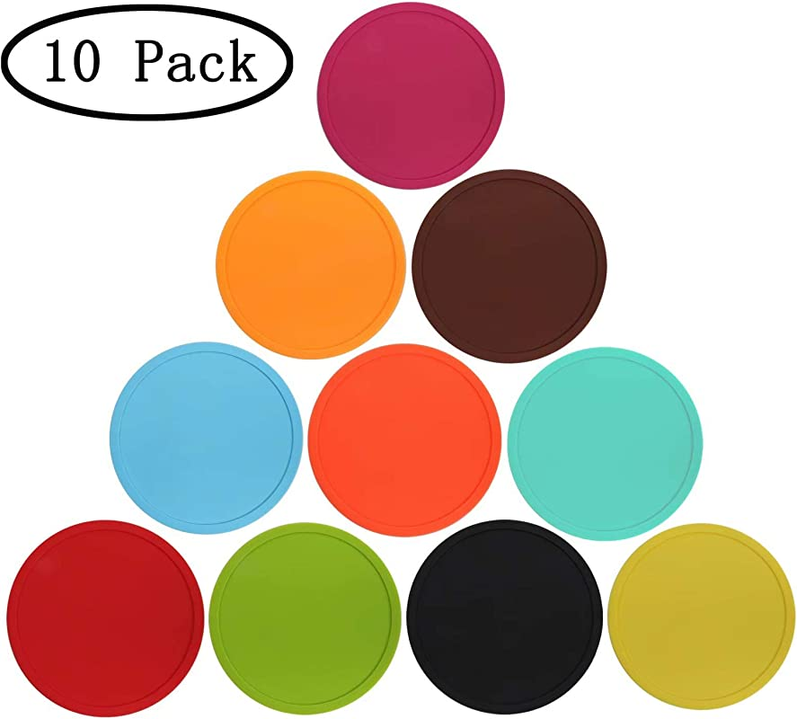 Silicone Drink Coasters Set Of 10 Coffee Mug Coasters For Office Home Coasters For Hot Pots And Pans Anti Slip Cup Coasters Protect Furniture And Table From Water Marks And Scratch Damage