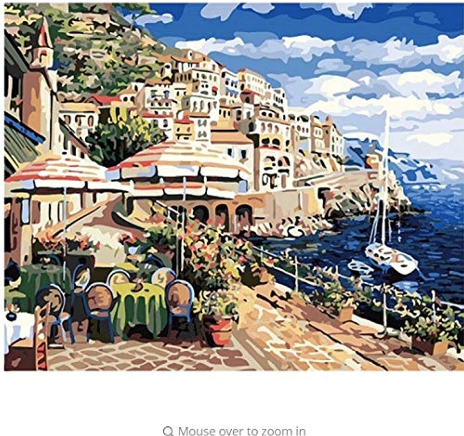 LIWEIXKY Modular Pictures DIY Digital Oil Painting By Numbers On The Canvas Seaside City Of The Paintings On The Wall  Framed  50x60cm