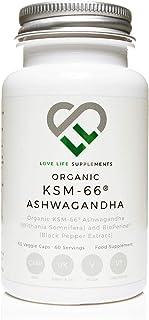 Ashwagandha KSM-66 Orgánico por LLS | Alta resistencia 500 mg por cápsula | 60 Cápsulas Veganas | 5% Ayurvedic Withania Somnifera | 100% puro y natural | Hecho en el Reino Unido bajo licencia GMP