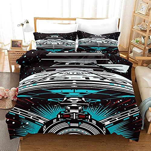 Star Trek Bettwäsche 135 X 200 cm Bettbezug Bettwäsche Set Raumfahrzeug Duvet Cover Und Kissenbezug 100% Mikrofaser 3D Digitaldruck 3-Teile Bettwäsche,155 x 220 cm