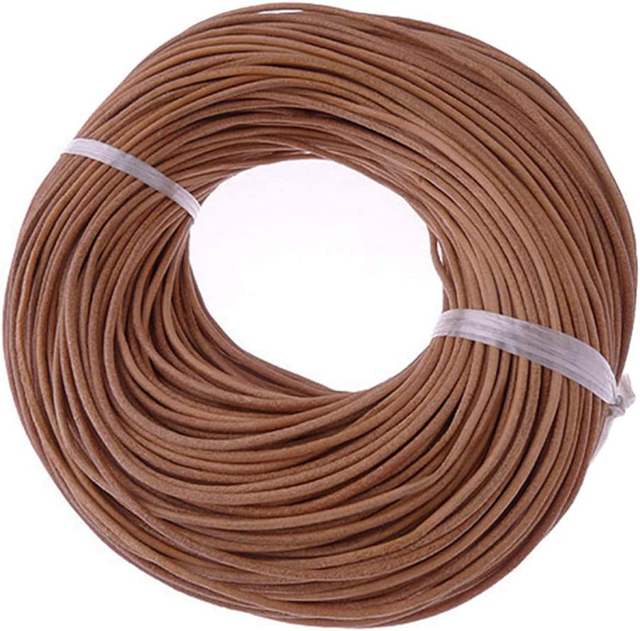 HUHAN 1mm Round Leather Oakland Mall Strip Max 57% OFF Cord f Brown Rope Braiding String