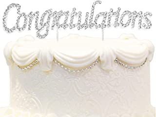 Hatcher lee Congratulations Rhinestone Crystal Metal Cake Topper - Perfect Graduation Decorations Party Supplies for Grad Party Gold (1)