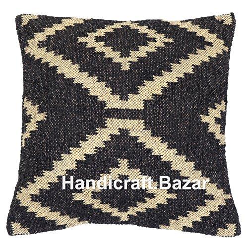 Handicraft Bazarr HB-CC-45 - Funda de cojín de yute tradicional hippie para decoración del hogar