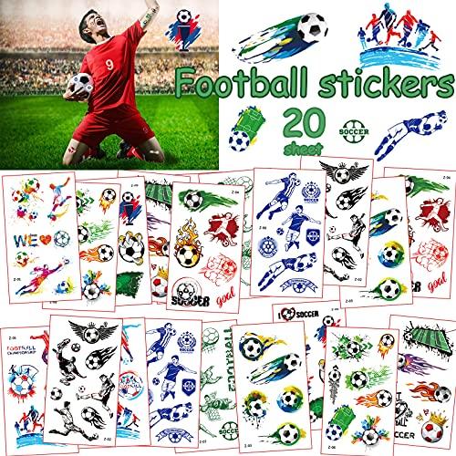 20 Blätter Fußball Tattoo,Tattoo Kinder,Fußball Sticker Tattoo,Temporäre Tattoos für Jungen, Tattoo Kindergeburtstag Mitgebsel Fußball Party