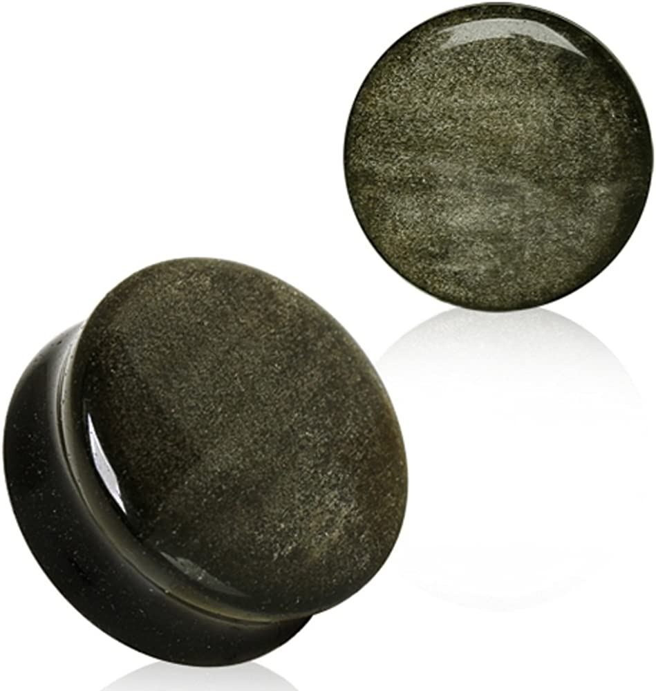 Covet Jewelry Natural Golden Obsidian Stone Saddle Plug