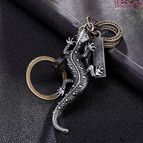 MINTUAN Legierung Gecko Eidechse Metall Schlüsselbund Schlüsselanhänger Ring Geschenk Männer Frauen Schlüsselanhänger Anhänger Schmuck
