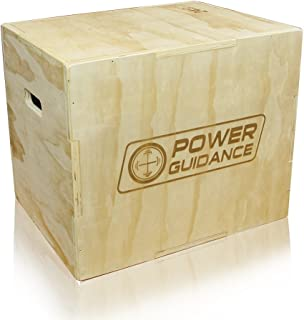 POWER GUIDANCE 3 in 1 Wood Plyometric Jump Box, Plyo Box for Jump Training and Conditioning - 30/24/20, 24/20/18, 16/14/12