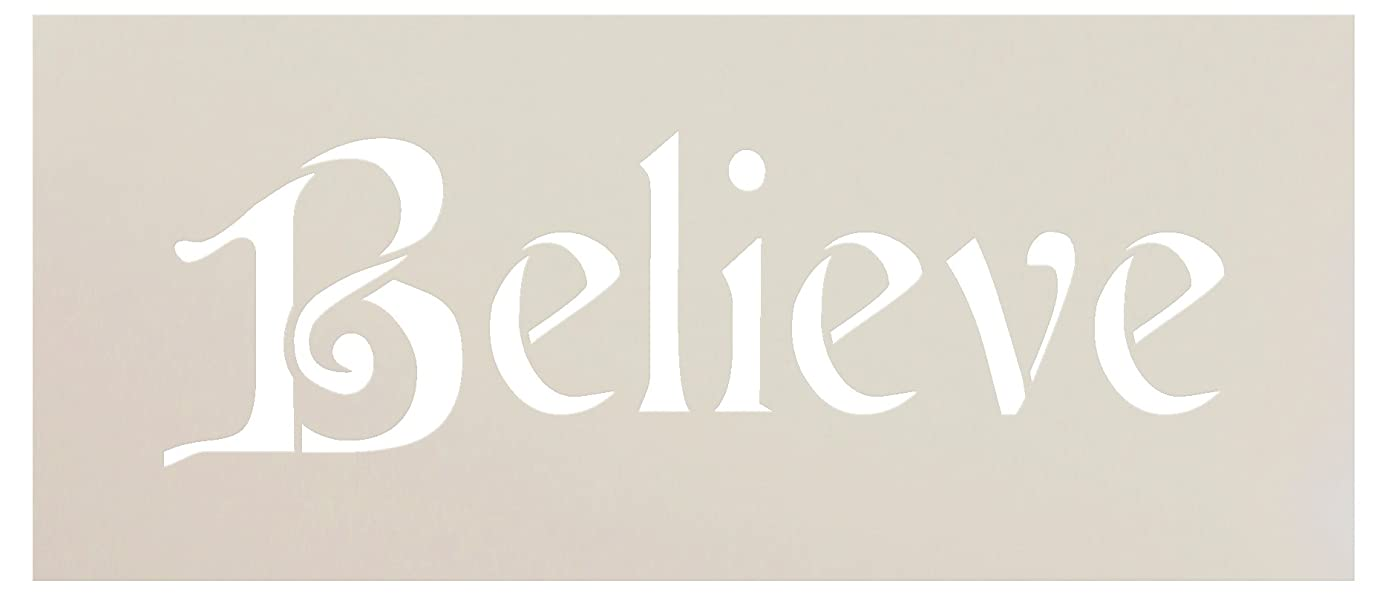Believe Stencil by StudioR12 | Elegant Christmas Word Art - Reusable Mylar Template | Painting, Chalk, Mixed Media | Use for Journaling, DIY Home Decor - STCL992_1 … SELECT SIZE (7