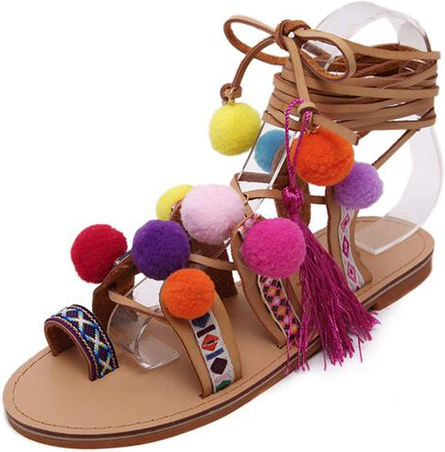 RAINIE002 Plus Size 35-40 Ethnic Bohemiansummer Woman Pompon Sandals Roman Strappy Knee High Embroidered Tassel shoes