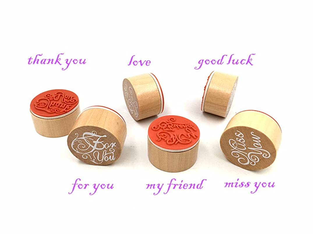 Blessing Words Stamps Set,Vintage Wooden Rubber Handwriting Wishes Sentiment Signet Kit for DIY Scrapbooking Album Card Making(6pcs with Different Words)