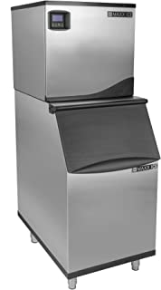 Maxx Ice MIM360N-B310 Commercial Narrow 22 Inch Wide Stainless Steel Modular Clear Ice Maker Machine Cuber 310 Pound Ice Storage Bin Digital Diagnostic Controller LED Light, 360 Pounds Per Day