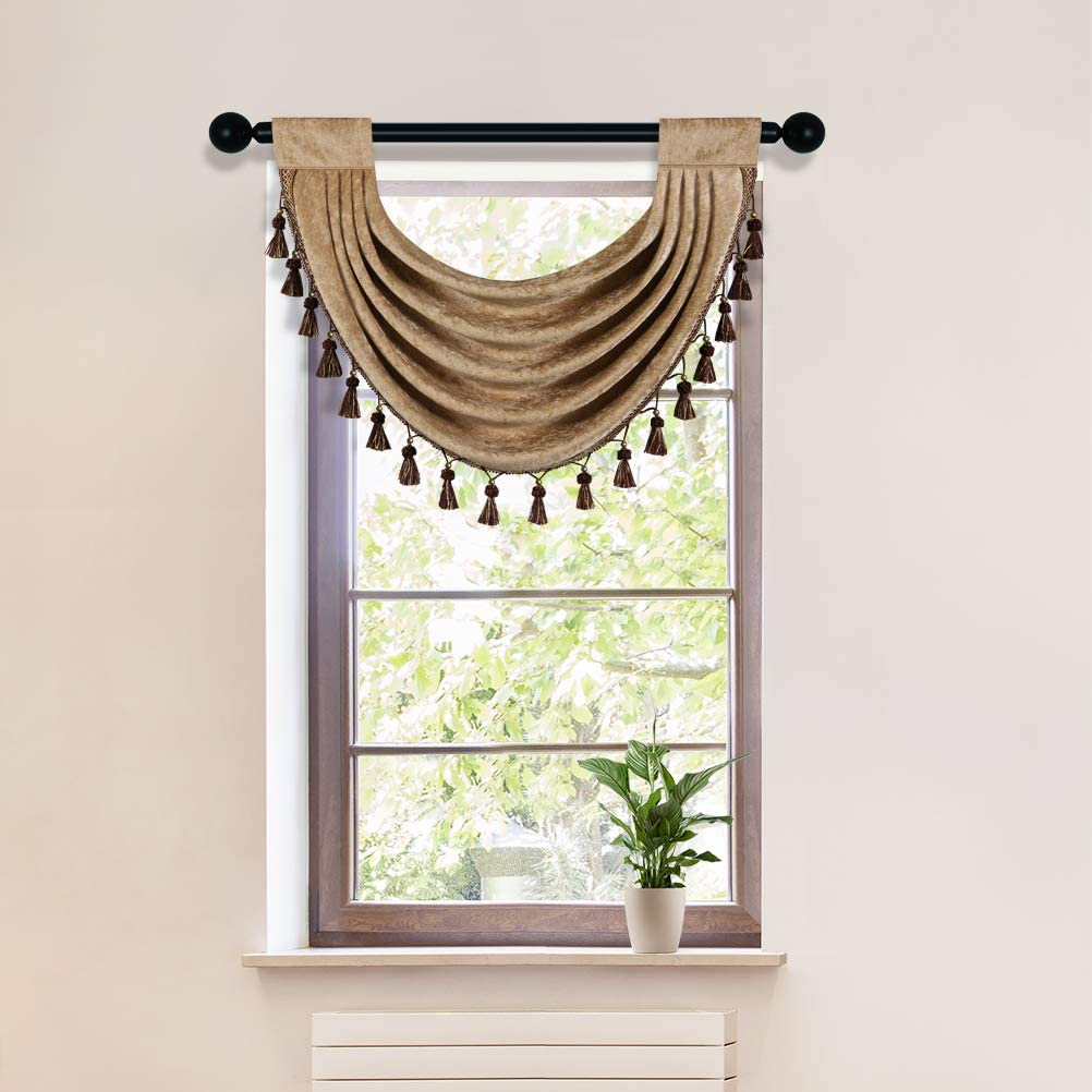 Coffee Thick Chenille Waterfall Swag Valances for Living Room Rod Pocket Valance Curtains for Kitchen (Coffee, 30