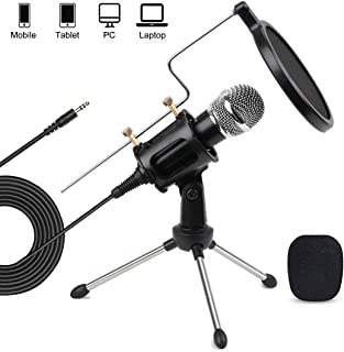 3.5mm PC Mobile Microphone Computer Condenser Studio Mic Plug & Play with Tripod Stand & Pop Filter for Chatting/Skype/You...