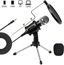 3.5mm PC Mobile Microphone Computer Condenser Studio Mic Plug & Play with Tripod Stand & Pop Filter for Chatting/Skype/YouTube/Recording/Gaming/Podcasting for Mobile PC Coumpurter Notebook Mac iPhone