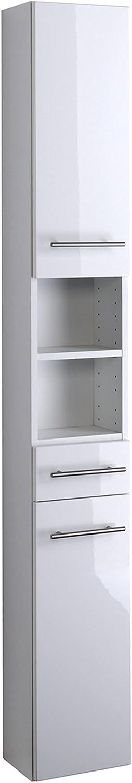 Lifestyle4living Bad Hochschrank in Wei Hochglanz  Badschrank hat 2 Türen und 3 Einlegebden  Schrank ist 25 cm breit und 181 cm hoch