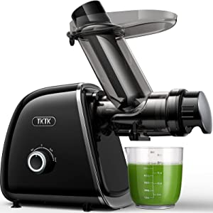Juicer Machines, TKTK 3.2in Wide Feed Chute Slow Masticating Juicer Extractor 2 Speeds for 92% Juicer Yield, Cold Press Juicer Quiet Motor & Easy to Clean with Brush & Recipes for Fruits & Vegetables