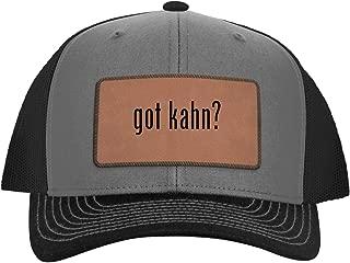 One Legging it Around got kahn? - Leather Dark Brown Patch Engraved Trucker Hat