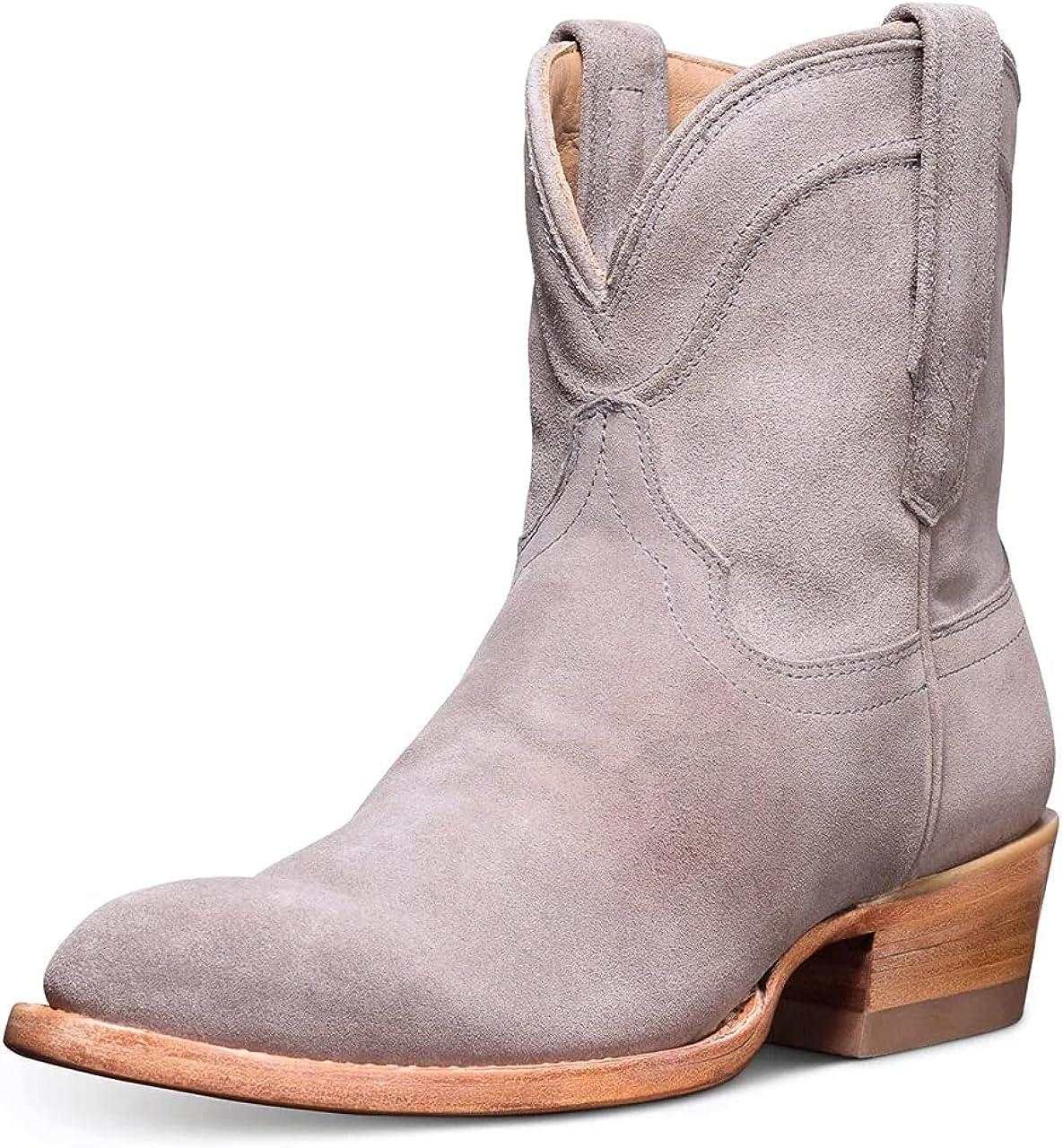 Womens Western Cowboy Bootie Nashville-Davidson Mall Leather Vintage Max 50% OFF Toe Round Chunky Mi