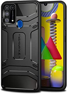 KAPAVER® Rugged Back Cover Case for Samsung Galaxy M31 / F41 MIL-STD 810G Officially Drop Tested Solid Black Shock Proof S...