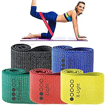 WODSKAI Resistance Exercise Fabric Bands Non-Slip Booty Workout Bands for Legs & Butt and Glutes 5 Levels Fitness Training Bands for Strength Physical Therapy with Carry Bag and Exercise Booklet