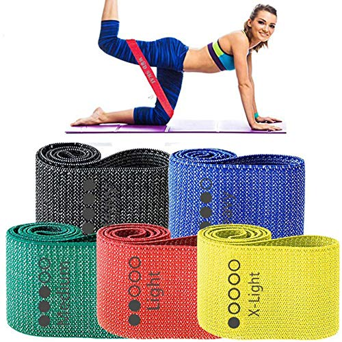 WODSKAI Resistance Exercise Fabric Bands, Non-Slip Booty Workout Bands for Legs & Butt and Glutes, 5 Levels Fitness Training Bands for Strength, Physical Therapy, with Carry Bag and Exercise Booklet