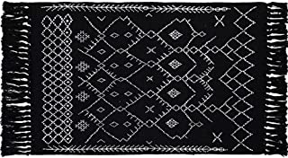 Cotton Woven Tassels Black White Bathroom Rug - Geometric Small Tribal Boho Knotted Cute Throw Chindi Rag Rug 2'x4.3' for Bedroom Living Room Laundry Entrance Kitchen, Thin Decorative Washable